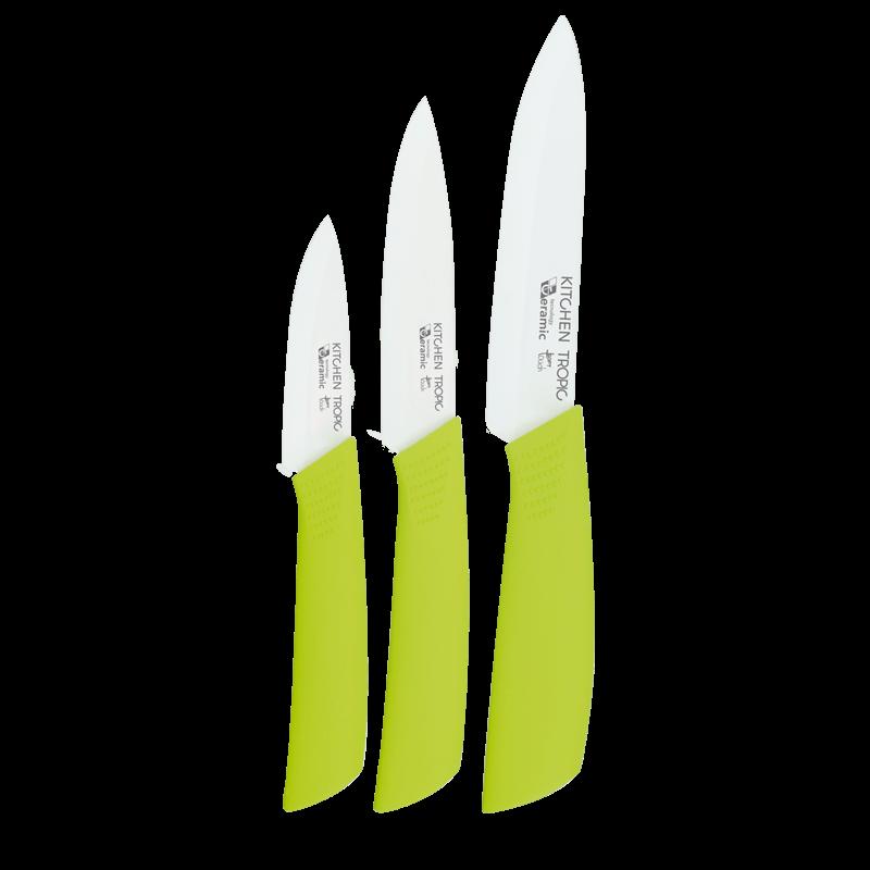 set 3 cuchillos ceramicos kitchen tropic